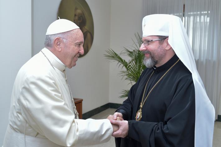 Святіший Отець під час зустрічі з Блаженнішим